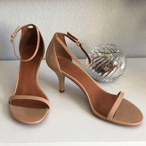 NWOT Coach Open Toe Strappy Angle Tan Heel Sandal